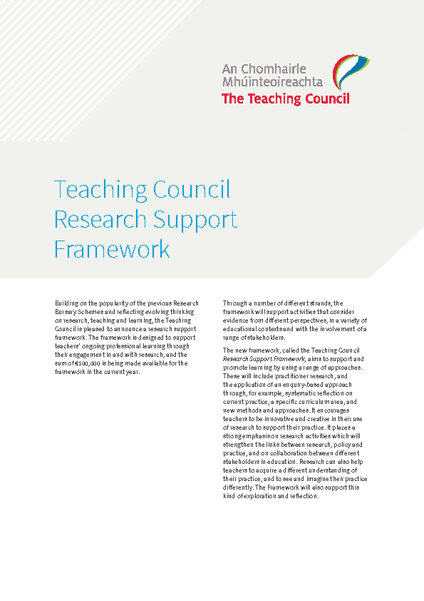 Research Support Framework Summary front page preview