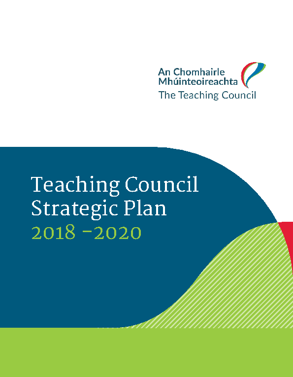 Teaching Council Strategic Plan 2018 - 2020 front page preview